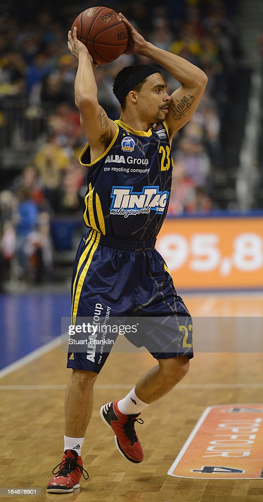 Dashaun Wood of Berlin in action during the Beko BBLTop Four final game between Ratiopharm Ulm and Alba Berlin at O2 World on March 24 2013 in Berlin...