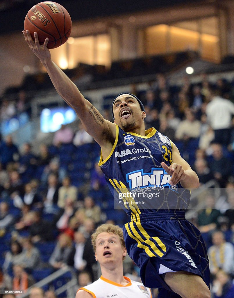 DaShaun Wood of Berlin scores a basket during the Beko BBLTop Four final game between Ratiopharm Ulm and Alba Berlin at O2 World on March 24 2013 in...