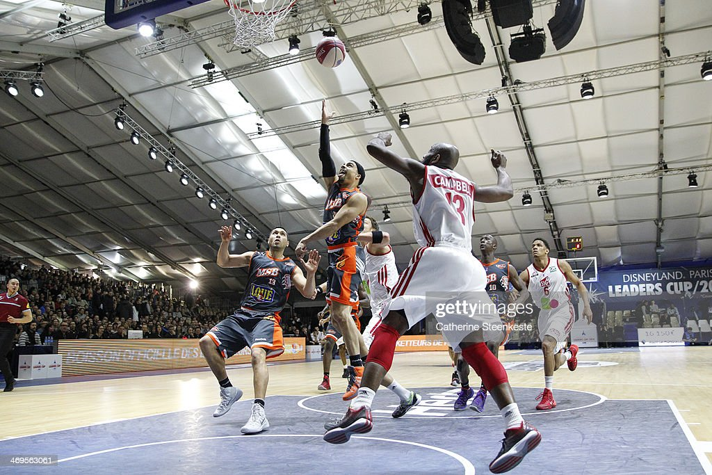 DaShaun Wood of Le Mans goes to the basket against Louis Campbell of Strasbourg during the game between Strasbourg and Le Mans at Disney Events Arena...