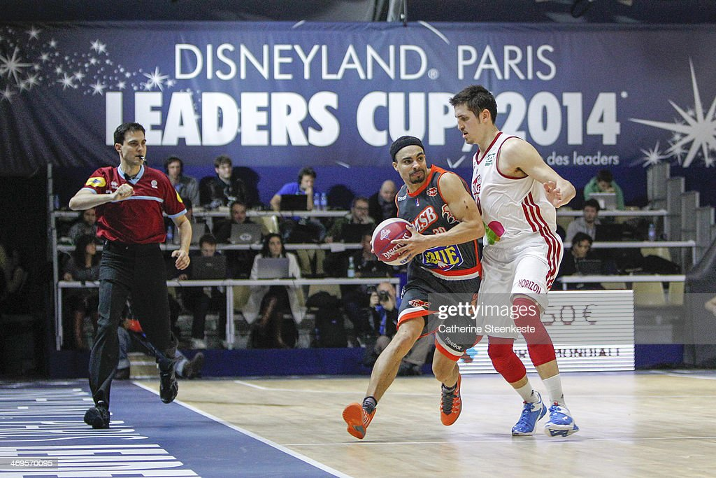 DaShaun Wood of Le Mans is trying pass the ball against Paul Lacombe of Strasbourg during the game between Strasbourg and Le Mans at Disney Events...