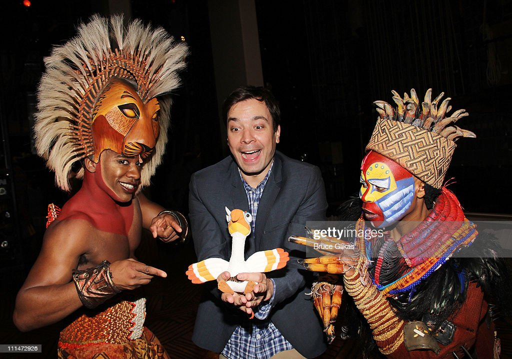Dashaun Young as 'Simba', Jimmy Fallon and Tshidi Manye as 'Rafiki' pose backstage at the hit musical 'The Lion King' on Broadway at The Minskoff Theater on April 2, 2011 in New York City.