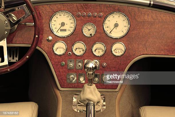 Dashboard and steering wheel of collectors car