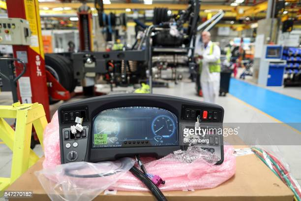 A dashboard of an Enviro 200 bus sits in the warehouse at the Alexander Dennis Ltd factory in Guildford UK on Monday Sept 11 2017 Manufacturing in...