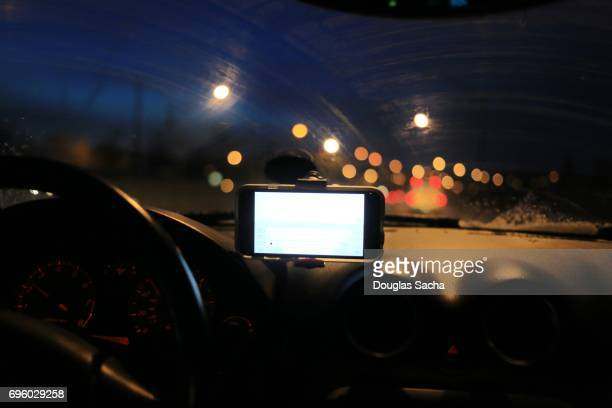 Dashboard view of a moving car