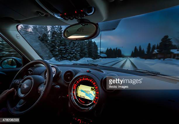 Dashboard with GPS, winter in Lapland, Sweden