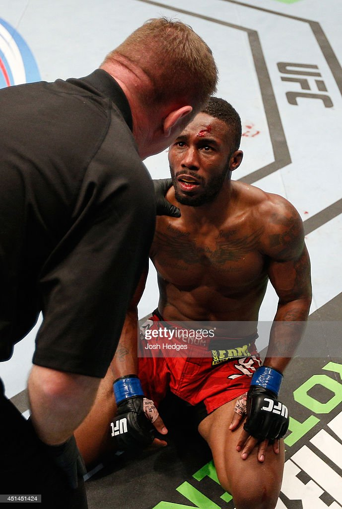Dashon Johnson looks to the referee in disbelief after his submission loss to Jake Matthews in their lightweight fight during the UFC Fight Night event at Vector Arena on June 28, 2014 in Auckland, New Zealand.