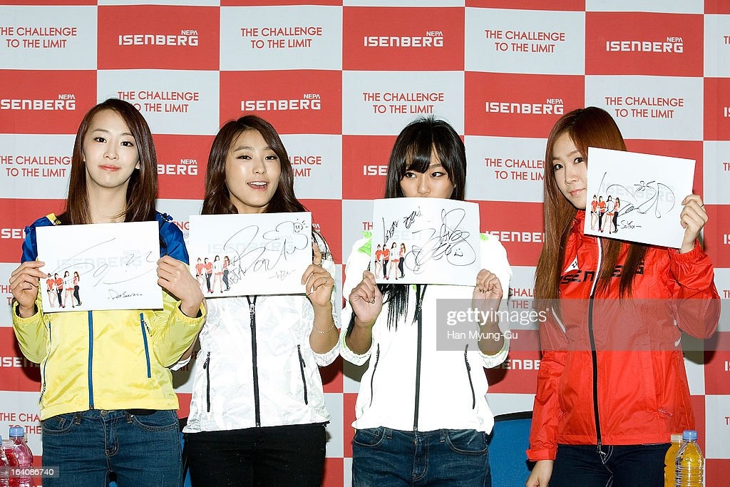 Dasom Bora Hyorin and Soyou of South Korean girl group Sistar attend an autograph session for 'ISENBERG' at Lotte Department Store on March 19 2013...