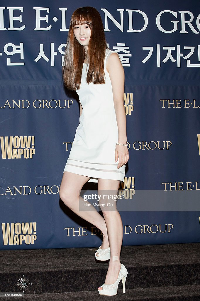 Dasom of South Korean girl group SISTAR attends during the E-Land Group press conference at the Lexington Hotel on August 27, 2013 in Seoul, South Korea. E-Land group announced today that it will start its entertainment business by making 'Hallyu' related content with 40 Korean management firms. The E-Land group said its 'WAPOP' project will offer an entirely new genre of 'Hallyu' by combining multiple contents.