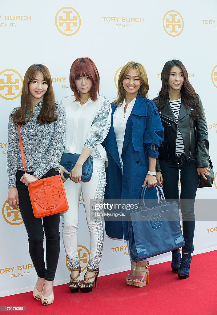 Dasom, Soyou, <a gi-track='captionPersonalityLinkClicked' href=/galleries/search?phrase=Hyorin&family=editorial&specificpeople=9128941 ng-click='$event.stopPropagation()'>Hyorin</a> (Hyolyn) and Bora of South Korean girl group SISTAR attend 'Tory Burch' Eau De Parfum Launching Party at Tory Burch Flagship Store on February 26, 2014 in Seoul, South Korea.