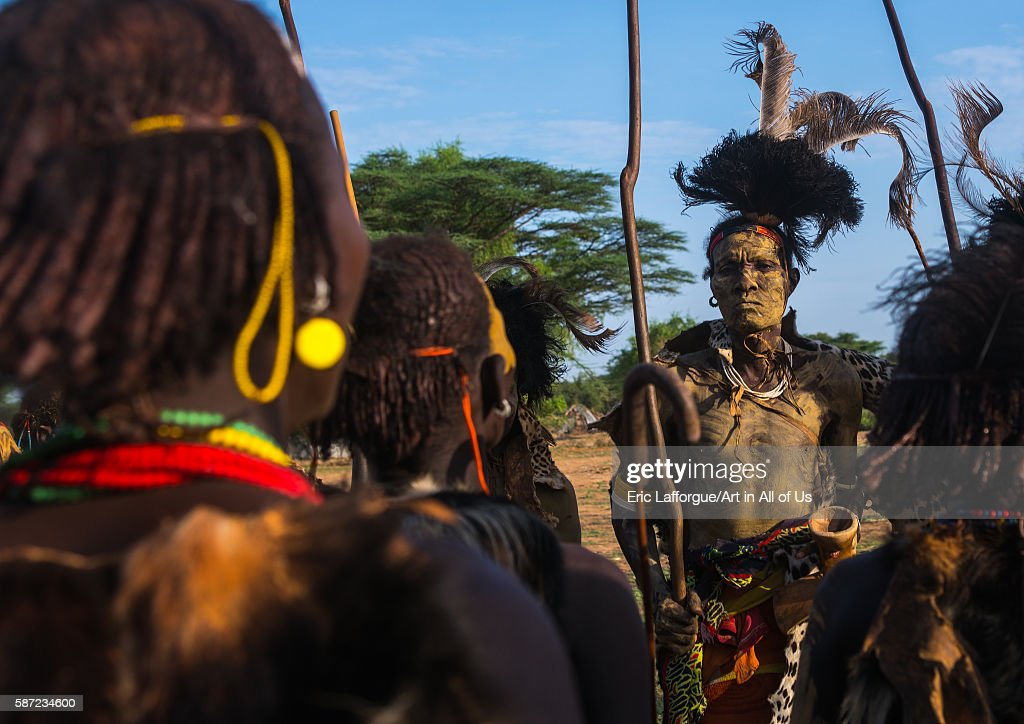 Dassanech men and women during dimi ceremony to celebrate circumcision of teenagers omo valley omorate Ethiopia on March 21 2016 in Omorate Ethiopia
