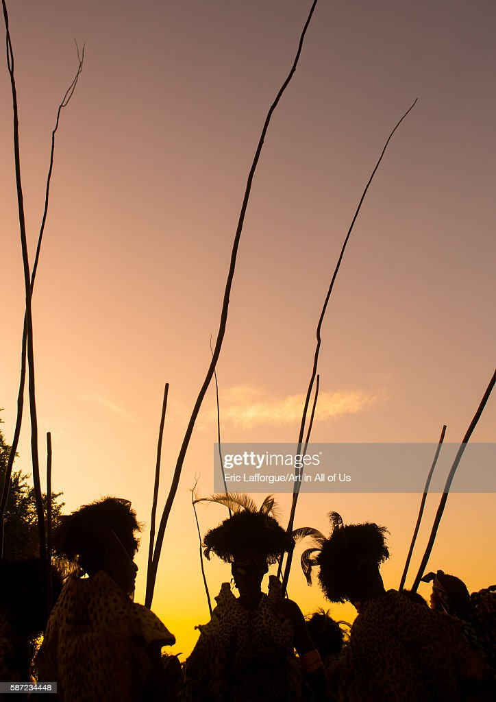 Dassanech men during the dimi ceremony to celebrate the circumcision of the teenagers omo valley omorate Ethiopia on March 20 2016 in Omorate Ethiopia
