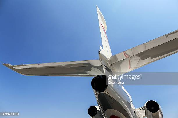 A Dassault Aviation SA Falcon 7X aircraft sits on display during the India Aviation 2014 air show held at the Begumpet Airport in Hyderabad India on...