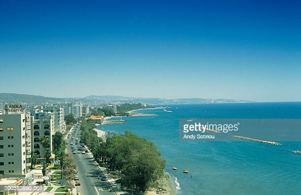 Dassoudi beach and coast road, Limassol, Cyprus, elevated view