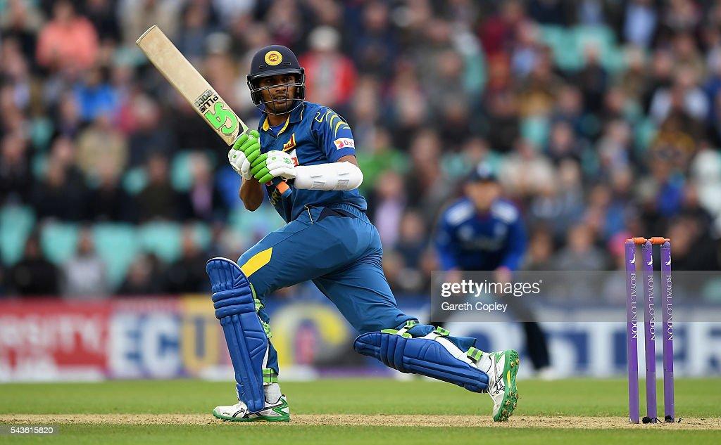 Dasun Shanaka of Sri Lanka bats during the 4th ODI Royal London One Day International match between England and Sri Lanka at The Kia Oval on June 29, 2016 in London, England.