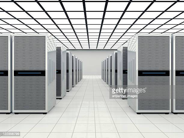 Data center in a large bright room