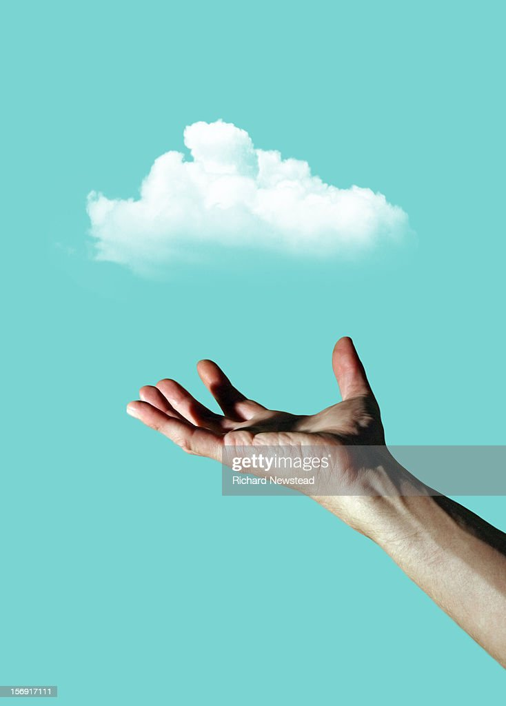 Data Cloud and Hand : Stock Photo