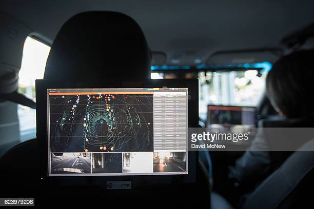 Data from LIDAR radar cameras and GPS units are seen inside a car equipped with using PolySync autonomy system development for creating and deploying...
