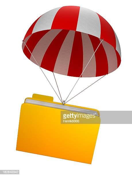 Data safety - folder in parachute isolated white/clipping path