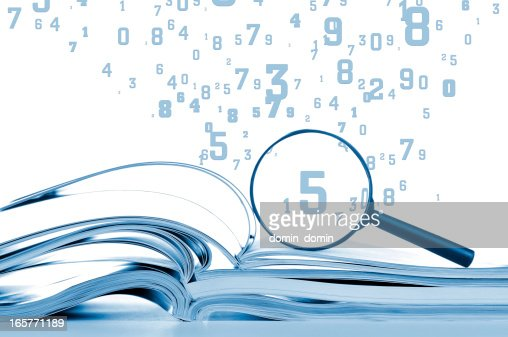 Data searching, opened notebooks with magnifier and flying numbers, isolated
