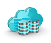 Database 3d with cloud isolated on white background. Data storage security concept.