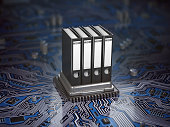 Database  archive data storage concept. Binders on CPU processor and motherboard. 3d illustration