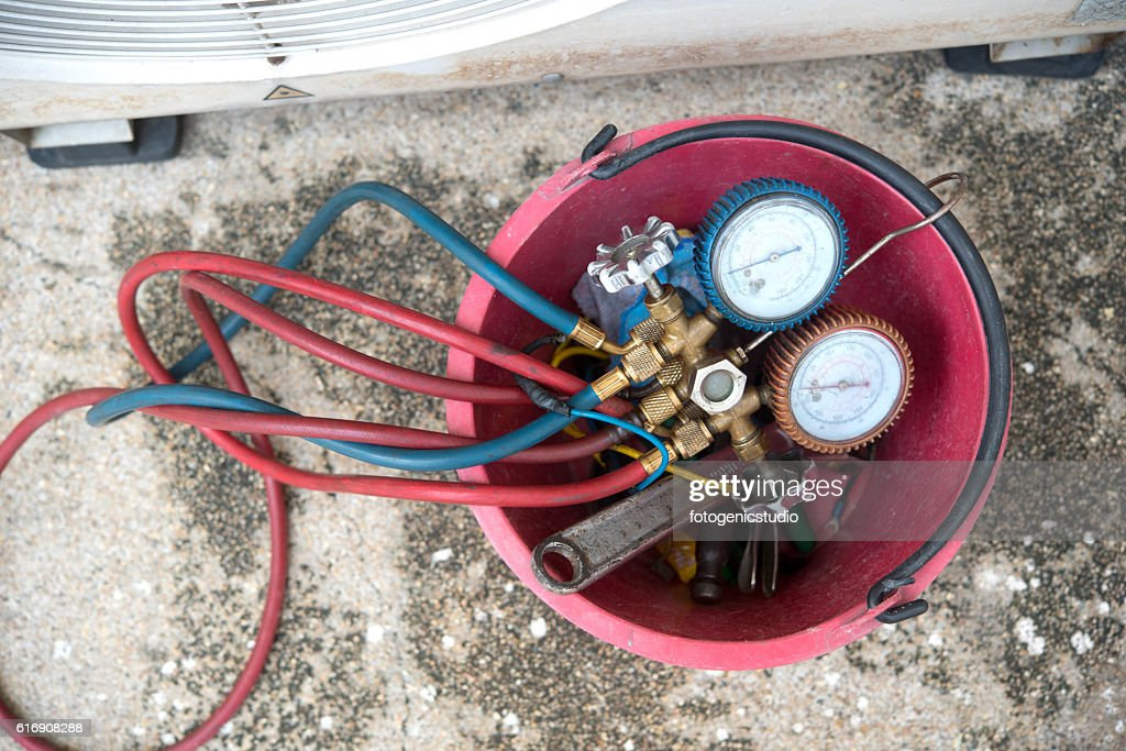 datail of Air Conditioning Tinstallation equipment : Stock Photo