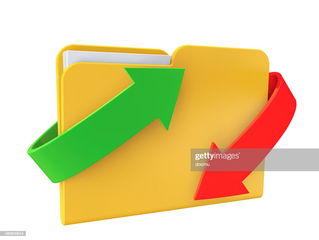 Date downloading Concept. Folder with arrows : Stock Photo