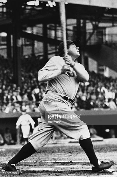 Date filed 8/6/1961New York NY Full length shot shows Babe Ruth about to hit a baseball looking up