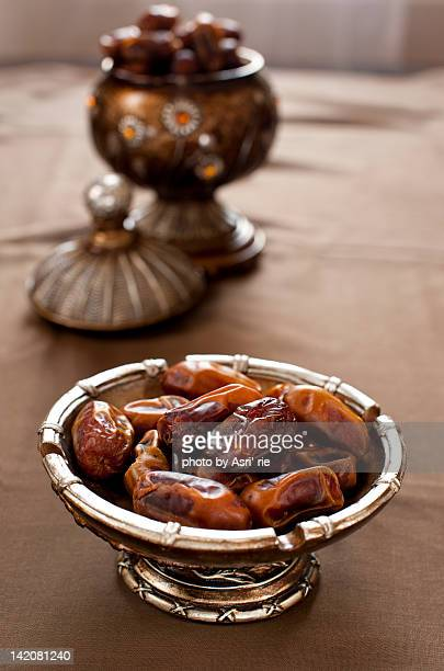 Date fruits on Arabic style bowl