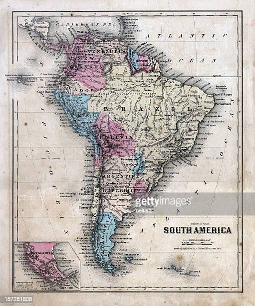 dated and faded south america map