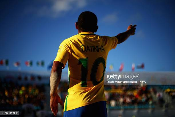 Datinha of Brazil signals to a team mate during the FIFA Beach Soccer World Cup Bahamas 2017 group D match between Braziland Japan at National Beach...