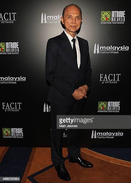 Datuk Professor Jimmy Choo arrives at the Illiza Ho Show at Menara MATRADE during Malaysia Fashion Week on November 6 2015 in Kuala Lumpur Malaysia