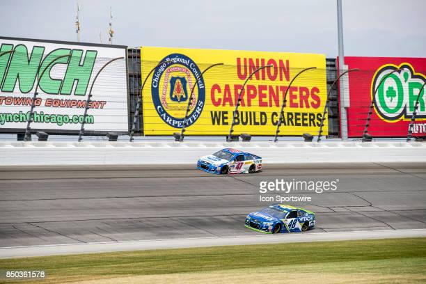 Daugherty Racing Kroger ClickList Chevy driver AJ Allmendinger and Hendrick Motorsports Lowe's Chevy driver Jimmie Johnson during the Monster Energy...