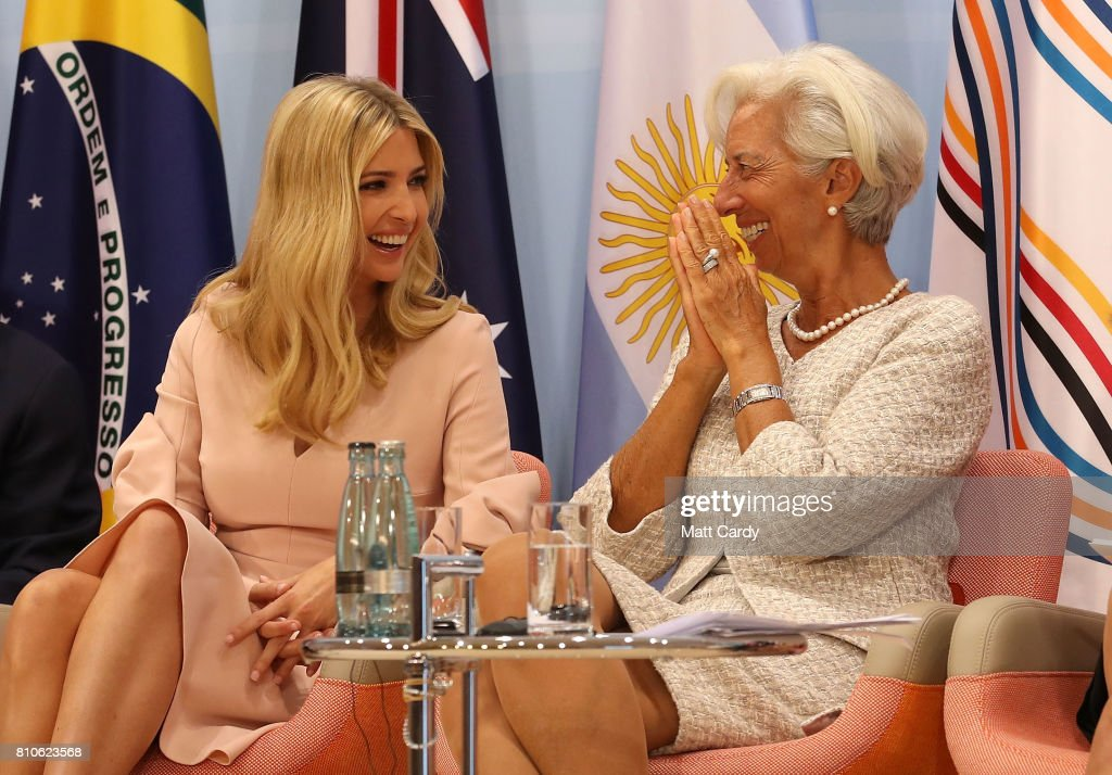 Daughter and advisor to US President Trump, Ivanka Trump and Managing Director of the International Monetary Fund (IMF), Christine Lagarde during the G20 summit on July 8, 2017 in Hamburg, Germany. Leaders of the G20 group of nations are meeting for the July 7-8 summit. Topics high on the agenda for the summit include climate policy and development programs for African economies.