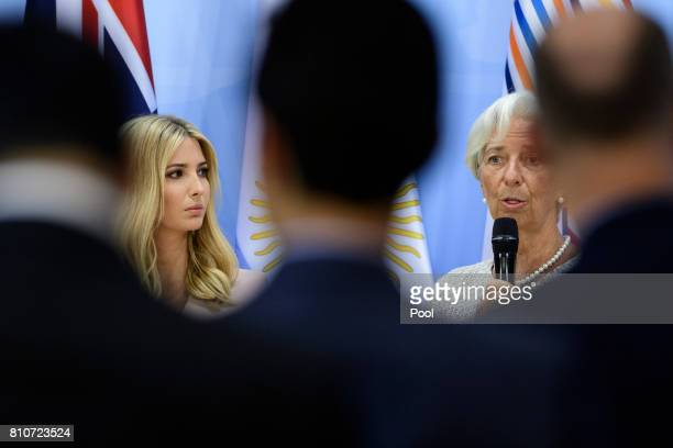 Daughter and advisor to US President Trump Ivanka Trump and Managing Director of the International Monetary Fund Christine Lagarde attend a panel...