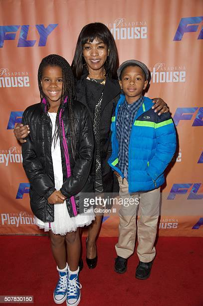 Daughter Bronwyn Vance Actress Angela Bassett and son Slater Vance attend the opening night Of 'Fly' at Pasadena Playhouse on January 31 2016 in...