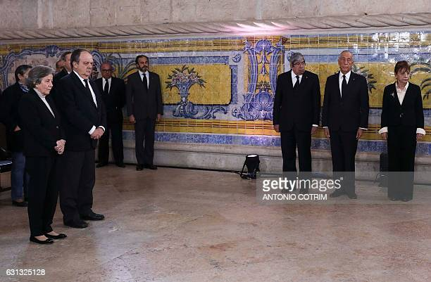Daughter Isabel Soares and son Joao Soares of late former Portuguese President Mario Soares accompanied by Portugal President Marcelo Rebelo de Sousa...