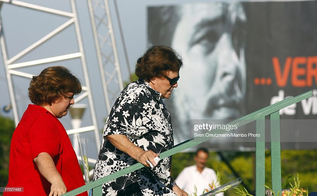 Daughter of Che Guevara, Aleida Guevara (R) and Che Guevara's widow, Aleida March (C), attend a commemoration of the 40th anniversary of the death of Ernesto Che Guevara October 8, 2007 in Santa Clara, Cuba. Guevara was killed October 8, 2007 in Bolivia after being captured by CIA backed Bolivian soldiers.