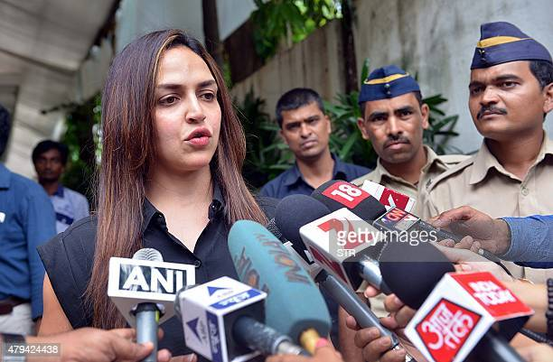 Daughter of Indian Bollywood actress and politician Hema Malini Esha Deol briefs the media about her mother's health at her Mumbai residence on July...