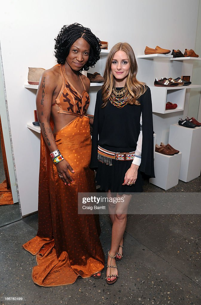 Daughter of late United Nations Ambassador and celebrity activist Africa Engo hosts the Pikolinos pop up store opening celebrating the Maasai Project with Juan Peran and Olivia Palermo seen here with Olivia Palermo on April 16, 2013 in New York City.