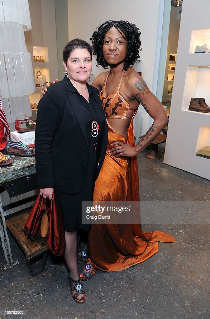 Daughter of late United Nations Ambassador and celebrity activist Africa Engo poses with Rosa Escandell (L) of Adcam at the Pikolinos pop up store opening celebrating the Maasai Project with Juan Peran and Olivia Palermo on April 16, 2013 in New York City.