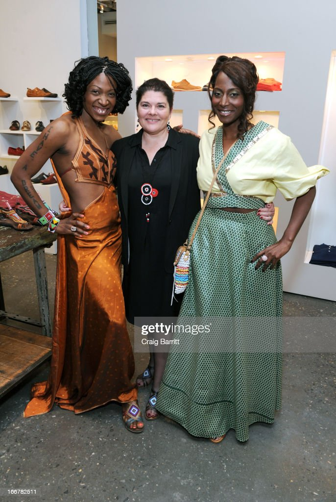 Daughter of late United Nations Ambassador and celebrity activist Africa Engo poses with Rosa Escandell and Bisila Bokoko at the Pikolinos pop up store opening celebrating the Maasai Project with Juan Peran and Olivia Palermo on April 16, 2013 in New York City.
