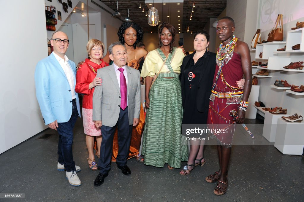 Daughter of late United Nations Ambassador and celebrity activist Africa Engo poses with Bisila Bokoko, Willian Kikanae, Juan Peran and Juan Manuel Peran at the Pikolinos pop up store opening celebrating the Maasai Project with Juan Peran and Olivia Palermo on April 16, 2013 in New York City.