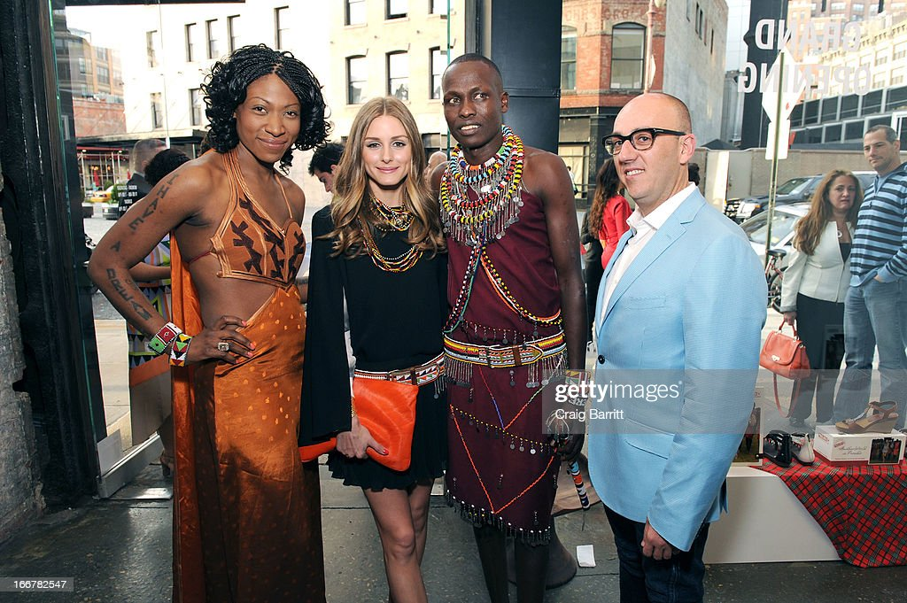 Daughter of late United Nations Ambassador and celebrity activist Africa Engo poses with <a gi-track='captionPersonalityLinkClicked' href=/galleries/search?phrase=Olivia+Palermo&family=editorial&specificpeople=2639086 ng-click='$event.stopPropagation()'>Olivia Palermo</a>, Willian Kikanae and Juan Manuel Peran at the Pikolinos pop up store opening celebrating the Maasai Project with Juan Peran and <a gi-track='captionPersonalityLinkClicked' href=/galleries/search?phrase=Olivia+Palermo&family=editorial&specificpeople=2639086 ng-click='$event.stopPropagation()'>Olivia Palermo</a> on April 16, 2013 in New York City.