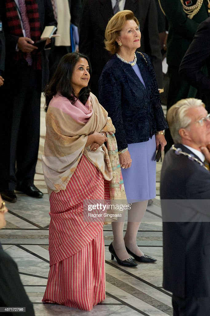 Daughter of the President of India Sharmistha Mukherjee (L) and Queen Sonja of Norway attend a guided tour at the Oslo City Hall during the first day of the state visit from India on October 13, 2014 in Oslo, Norway.