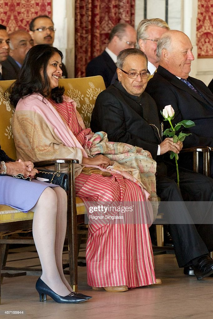Daughter of the President of India Sharmistha Mukherjee and the President of India Pranab Mukherjee attend a guided tour at the Oslo City Hall during the first day of the state visit from India on October 13, 2014 in Oslo, Norway.