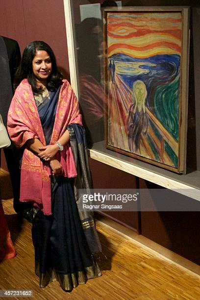 Daughter of the President of India Sharmistha Mukherjee visits the Munch Museum and posing at the Edvard Munch painting 'The Scream' during the...