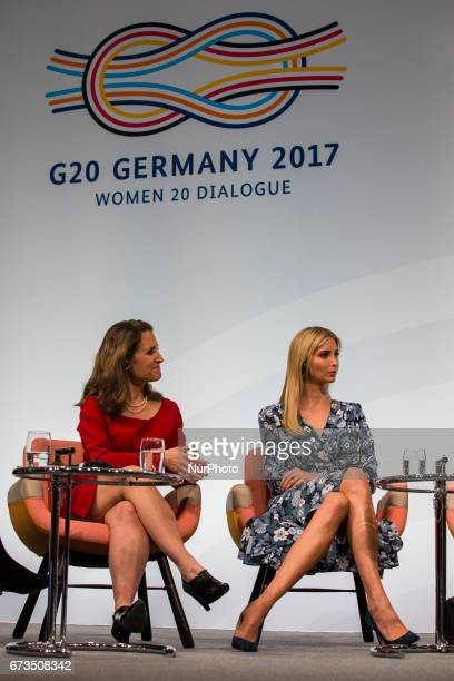 Daughter of US President Ivanka Trump and Canada's Minister for Foreign Affairs Chrystia Freeland attend the Woman 20 Summit in Berlin Germany on...