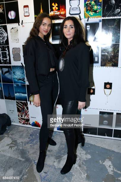Daughter of Yannick Noah model Jenaye Noah and Margaux Reiffers attend the Launching of the Book 'Mocafico Numero' at Studio des Acacias on February...