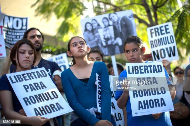 Daughters of Romulo AvelicaGonzalez Jocelyn Fatima and Yuleni attend a rally for his release outside US Immigration and Customs Enforcement offices...